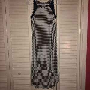 Rue21 Dresses - high low navy blue and white strip dress!!